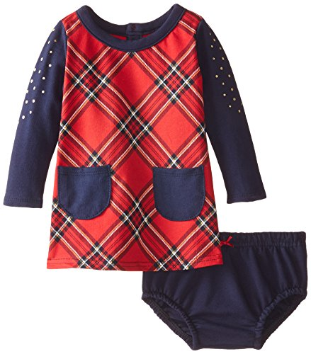 Hartstrings Cotton Dress - Hartstrings Baby Girls Plaid Knit Dress and Panty Set, Christmas Red, 12 Months