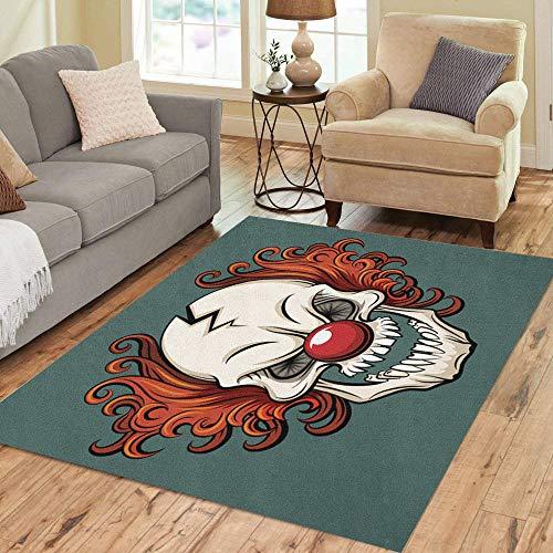 Pinbeam Area Rug Colorful Evil Scary Clown Halloween Monster Joker Character Home Decor Floor Rug 3' x 5' Carpet