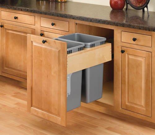 Rev-A-Shelf 50 Qt Double Top Mount / Door Mount Wood Waste Bin