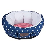Bone Dry DII 4th of July Stars & Stripes Pet Bed, 20x19x10 Medium Circle Bed for Dogs Or Cats