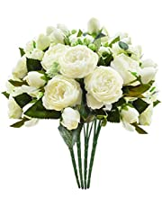 Schliersee Small Artificial Flowers Peony Silk Fake Flower Bouquet for Home Wedding Decoration Cream Color, 4pcs