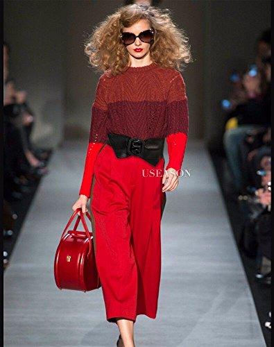 Chaqueta Vestidos Marrón Cuero Ancho Cintura Abajo Decoración Escudo Con Rojo Moda Cinturón Mujer YBqzPx