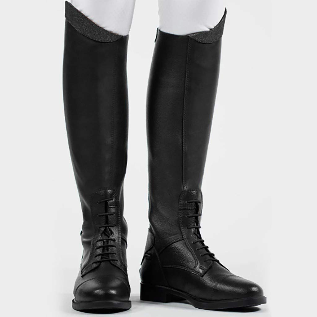 Fheaven Women's Pointed Toe Knee High Combat Rider Mid Calf with Lace up Black by Fheaven-shoes