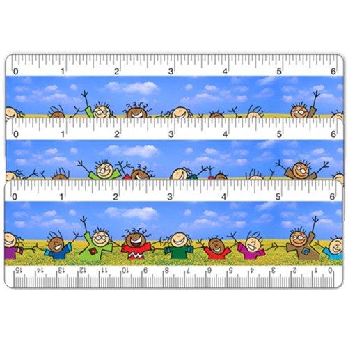 SetOf3 Animated 6 In. Lenticular Ruler Bookmark Children Dancing -