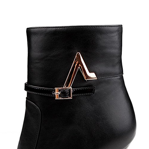 AllhqFashion Womens Zipper Spikes Stilettos Pu Solid Low Top Boots Black ZcxXoAZJI