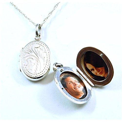 Olivia 925 Sterling Silber eingraviertes Oval-Medaillon zum Öffnen, auf Kette 45cm CL257