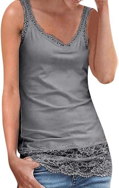 KIMODO Damen Karierte Spitze T-Shirt Blusemit V-Ausschnitt und Tasten /Ärmellose Weste Sommer Oberteile Tank Tops