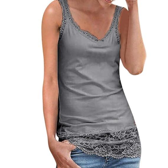 42b34350317 Ropa Mujeres Camisetas sin Mangas Tank Top,riou Chaleco de Costura de  Encaje de Las señoras Sexy Casual sin Mangas Blusa Cami Camisas Camiseta  Chaleco Tops ...