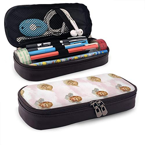 Pgonesex Cute Little Angel Leather Cute Pencil Case - High Capacity Pencil Pouch Stationery Organizer Multifunction Cosmetic Makeup Bag, Perfect Holder for Pencils and Pens ()