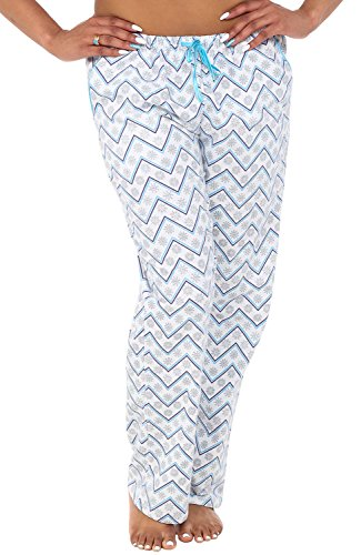 Alexander Del Rossa Womens Flannel Pajama Pants, Long Cotton Pj Bottoms, XL White Zig Zag Snowflakes (A0703Q82XL)