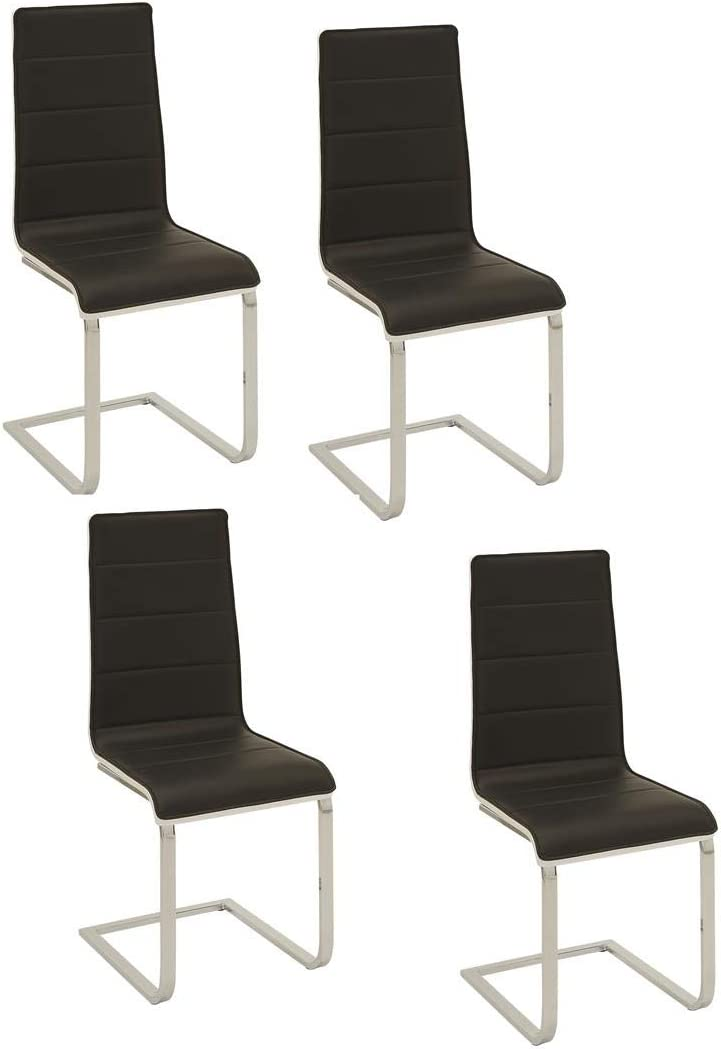 Wexford Upholstered Dining Chairs Black and Chrome Set of 4