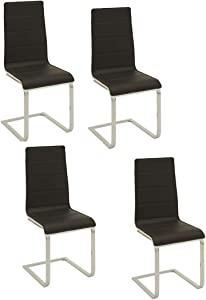 Wexford Upholstered Dining Chairs Black and Chrome (Set of 4)