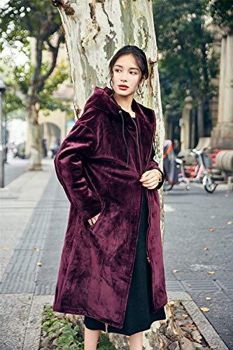 Longues Elgante Femme Casual avec breal Manteau Warm Vintage A Capuche Automne Bouffant Outdoor Manches Hiver Veste Rouge Velours Fashion Longues Outerwear Zip Coat qvd5wx86d