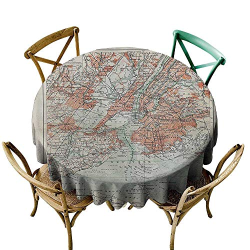 Jbgzzm Oil-Proof and Leak-Proof Tablecloth NYC Decor Collection New York Old Map from The End of 19th Century Antiques History Historical Symbol Party D35 Coral Green Beige