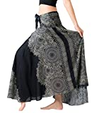Bangkokpants Women's Long Hippie Bohemian Skirt Gypsy Dress Boho Clothes Flowers One Size Fits (Hippierose Black, Plus Size)