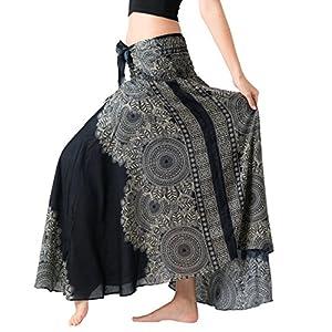 Bangkokpants Women's Long Hippie Bohemian Skirt Gypsy Dress Boho Clothes Flowers One Size Fits Asymmetric Hem Design 17