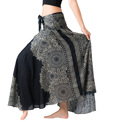 (Bangkokpants Women's Long Hippie Bohemian Skirt Gypsy Dress Boho Clothes Flowers One Size Fits (Hippierose Black, One)