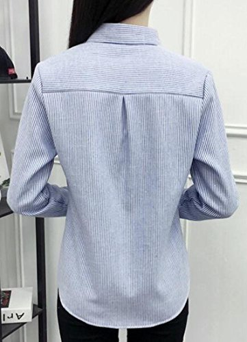Blue Winter Down Button Lined Fleece Long Embroidery Womens UK today Sleeve Shirt RTqEPC