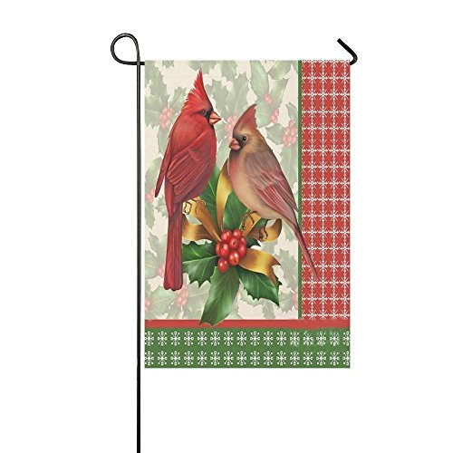 Bright Color Couple Red Cardinals Garden Flag - Double Sided