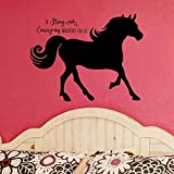 Horse Silhouette with Inspirational Quote Vinyl Wall Decal, Horse Gift For Girls, 36″X27″ Black