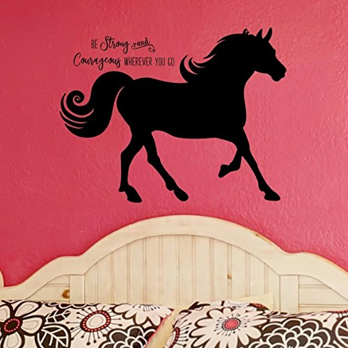 Silhouette Vinyl Wall - Horse Silhouette with Inspirational Quote Vinyl Wall Decal, Horse Gift For Girls, 36