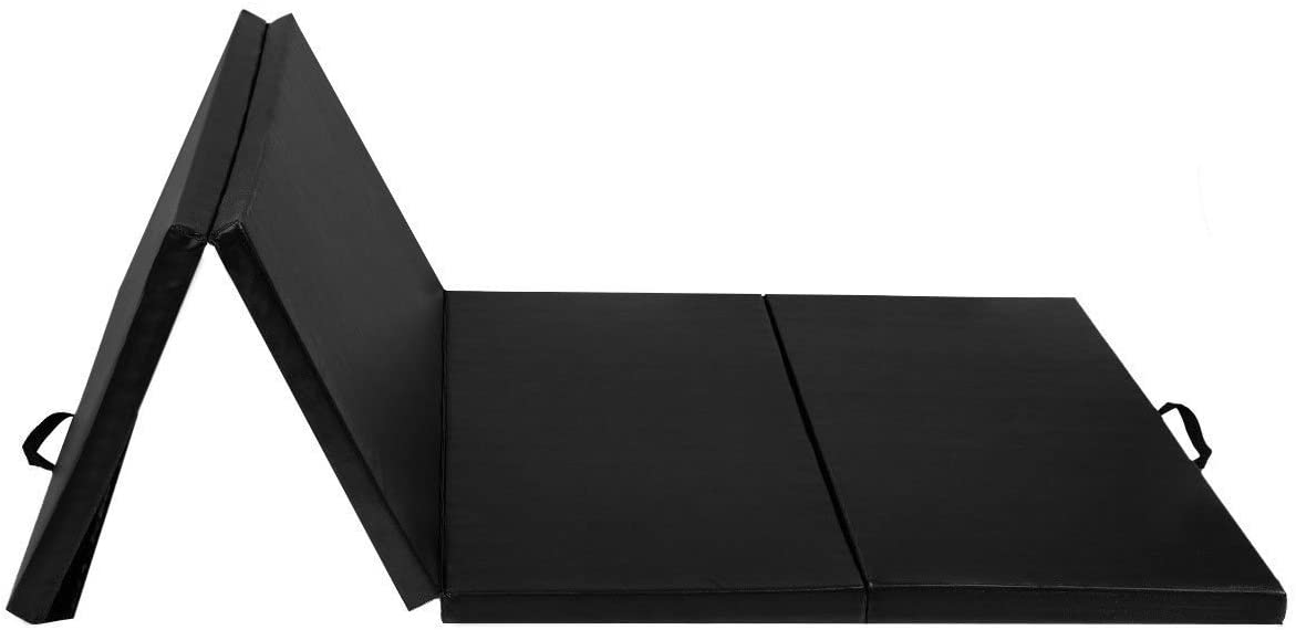 KCHEX>>4フィートx10フィートx2体操マット 折りたたみパネルジムフィットネスエクササイズマット ブラック>>体操マットは、体操以外の体操に最適ですが、ヨガ、ダンス、ライトストレッチにも。