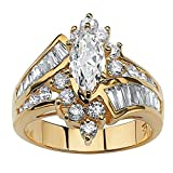 FEDULK Womens Luxury Rings Jewelry Rhinestone Engagement Wedding Bridal Promise Anniversary Ring(Gold, 10)