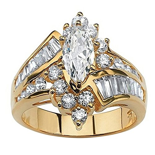 FEDULK Womens Luxury Rings Jewelry Rhinestone Engagement Wedding Bridal Promise Anniversary Ring(Gold, 8)
