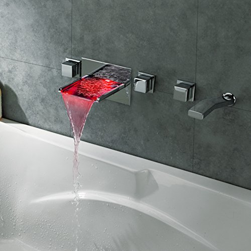 JiaYouJia LED Waterfall Wall Mount Bathtub Filler Faucet by JiaYouJia