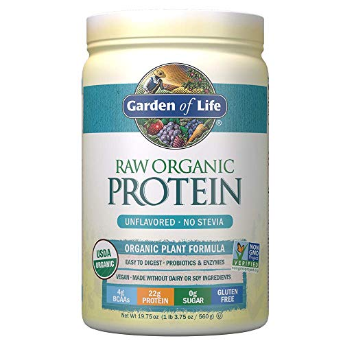 Garden of Life Raw Organic Protein Unflavored Powder, 20 Servings *Packaging May Vary* Certified Vegan Gluten Free Organic & Non-GMO, Plant Based Sugar Free Protein Shake with Probiotics & Enzymes (Quest Protein Unflavored)
