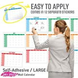 Dry Erase Calendar White Board Set | Reusable, Adhesive, Blank and Undated Monthly Planner for Office, Home | Premium Laminate Wall Calendar for Classroom, Fiscal Year, Project with Bonus Items