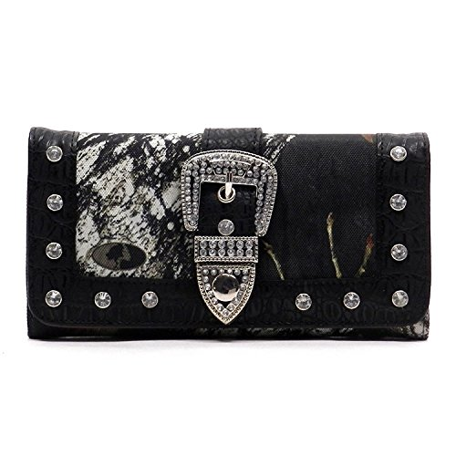 Mo Realtree Camouflage Bk Checkbook Wallet Western Buckle Womens Trifold Black awBTUw