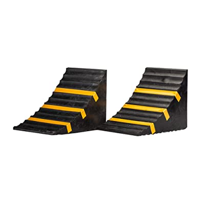 SLT Gdpodts Solid Rubber Heavy Duty Wheel Chocks 2 Pack Black and Yellow Wheel Blocks for Cars and Vehicles: Automotive