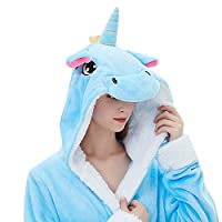 ABENCA Women Adult Animal Cartoon Unicorn Bath Robe Flanel Fleece Hooded Halloween Christmas Cosplay Robe (L for Height 5