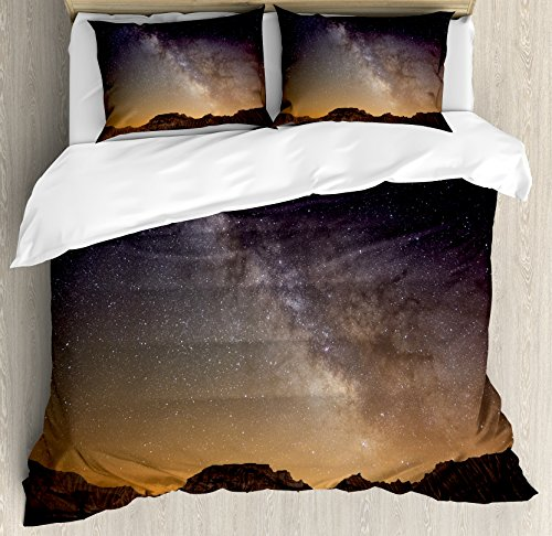 Night King Size Duvet Cover Set by Ambesonne, Milky Way over Desert of Bardenas Spain Ethereal View Hills Arid Country, Decorative 3 Piece Bedding Set with 2 Pillow Shams, Plum Apricot Chocolate by Ambesonne