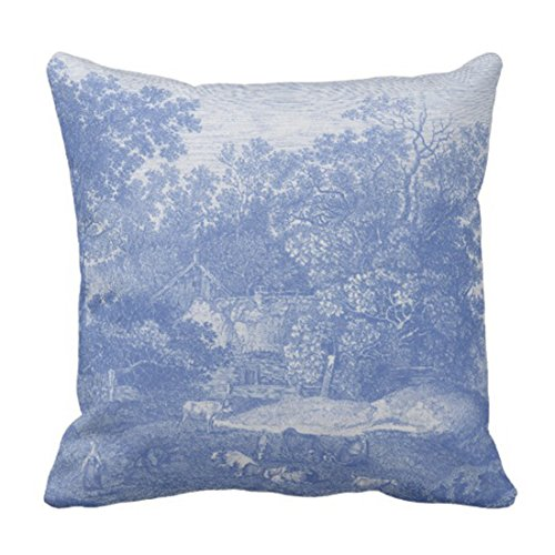 (Emvency Throw Pillow Cover Toile Blue Toil De Jouy French Country Shabby Engraving Decorative Pillow Case Home Decor Square 20 x 20 Inch Pillowcase)
