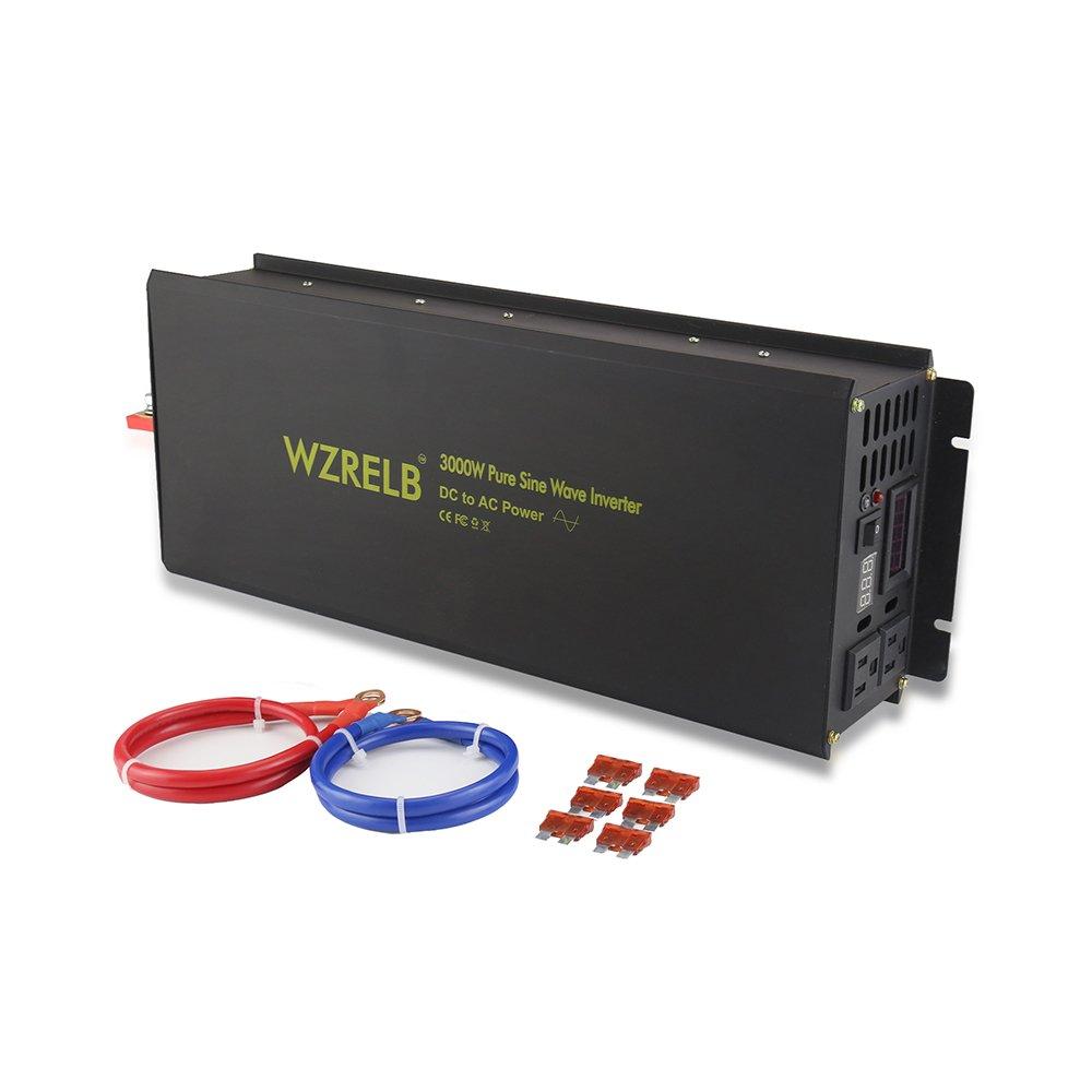 WZRELB 3000W Pure Sine Wave Solar Power Inverter Generator 24V DC to 120V AC Converter Car Inverter by WZRELB