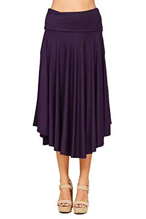 f33f8f6c13 Annabelle Women's Bulky Wide Leg Loose Solid Knit Waistband Midi Skirt  Violet Large S9010