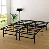 DUMEE 14 Inch Metal Platform Bed Frame Mattress Foundation Folding Bed Box Spring Replacement Queen Size/Black