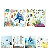 Amaonm Removable Creative DIY 3D The World Under Sea Wall Decals for Kids Room Bedroom Nursery Room Cute Fish Blue Dolphin Seagrass Coral Wall Art Decor Decal Stickers for Window Bathroom Classroom