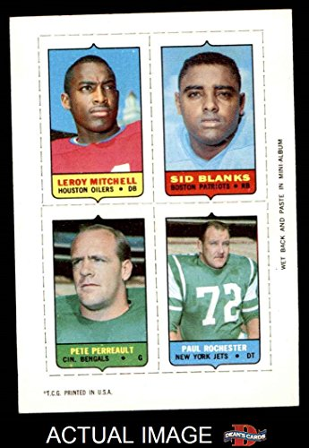 1969 Topps 4-in-1 Football Stamps Leroy Mitchell / Sid Blanks / Pete Perreault / Paul Rochester (Football Car-card) Dean's Cards 6 - EX/MT