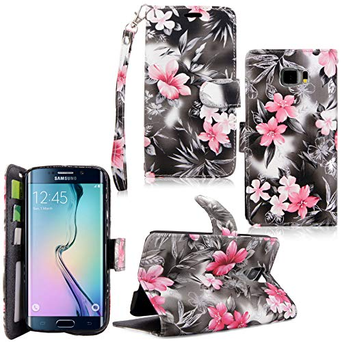 Cellularvilla Galaxy S6 Edge Plus Case, [Diamond Jewel] [Card Slots] Embossed Flower Design Premium Pu Leather Wallet Case Flip Cover for Samsung Galaxy S6 Edge Plus / S6 Edge+ (Black Pink Flower)