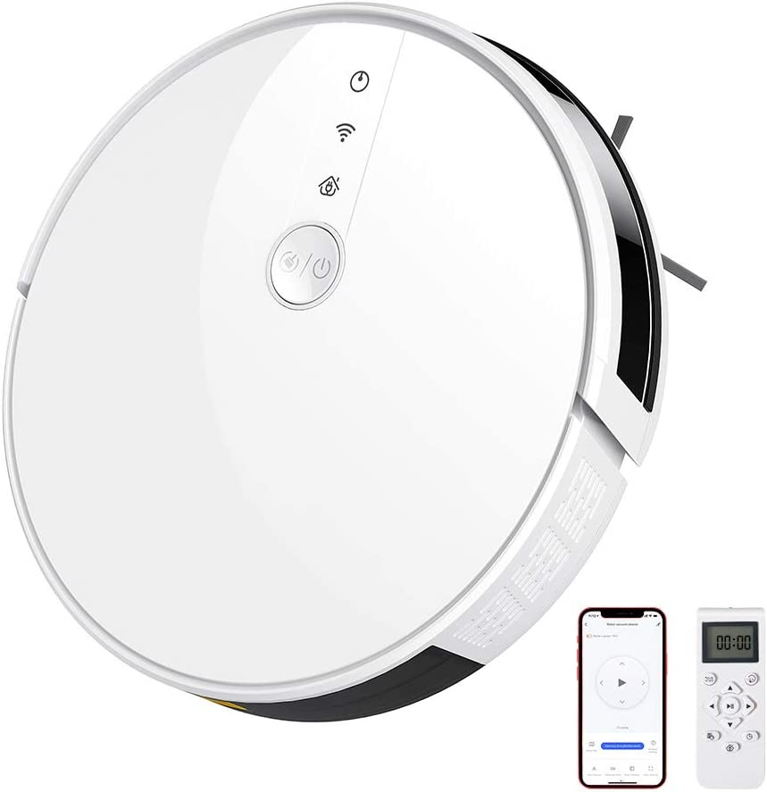 Robot Vacuum Cleaner, Elegant Life 3-in-1 Vacuuming, Sweeping and Mopping, Wi-Fi, 2000Pa Suction, Work with Alexa & Google Assistant, Self-Charging Robotic Vacuum Cleaner, Clean Hard Floor to Carpet