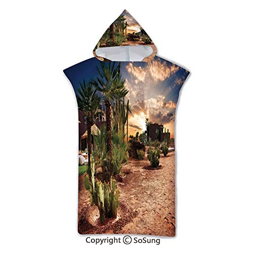 Desert Kids Hooded Beach Bath Towel,Majestic Sky View Palm Trees and Cactus in Oasis Morocco Tropic Nature,7-15 Years Old Microfiber Bath Robe,Blue Green Light Brown,for Beach Pool Shower (Desert Palm Bowling)