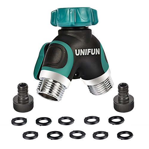 UNIFUN Hose Splitter, Way Water Splitter, Metal Body with 10 Free Washers and Free Garden Hose Connector (2 way)