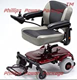 Merits Health Products - EZ-GO- Travel Power Chair - 18''W x 15''D - Red - PHILLIPS POWER PACKAGE TM - TO $500 VALUE