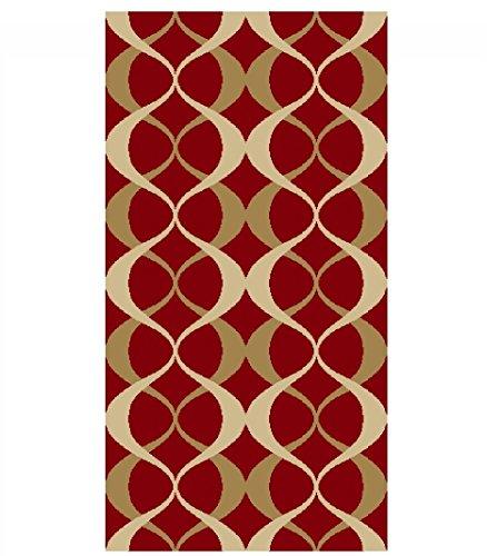 Adgo Collection Contemporary Moroccan Mediterranean Trellis Lattice Design Rubber-Backed Non-Slip Non-Skid Area Rugs, Cherry Red and Gold , 20