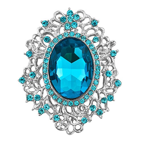 JewelryHouse Vintage Silver Tone Crystal Rhinestone Brooches and Pins (Blue) (Vintage Silver Rhinestone Blue Tone)