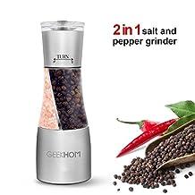 Salt and Pepper Grinder, GEEKHOM Salt and Pepper Mill Set Spice Grinder 2 in 1 with Adjustable Ceramic Grinding Mechanism, Glass Body, Stainless Steel Salt Grinder