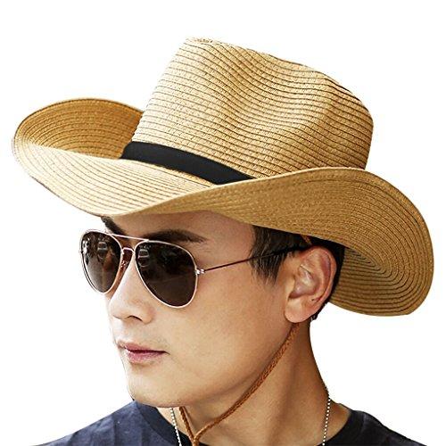Men Cowboy Sun Hat Foldable Straw Hat Classic Western Newsboy Cap Summer Wide Brim Roll Up Raffia Cowboy Hat Fedora Hat with String Sun Visor BeachSunshade Bucket Cap Outdoor Fishing Cap Safari Hat
